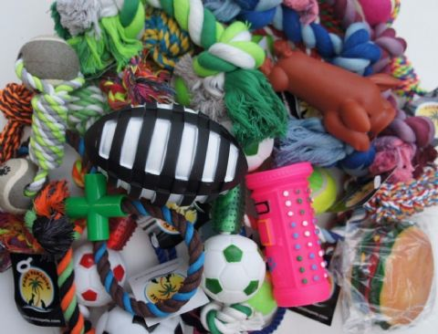 BULK ASSORTED PET DOG SQUEAKY CHEW ROPE BALL RUBBER LARGE TOYS X 10 DOG TOYS